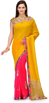 Aadhuni Self Design Fashion Chiffon Saree(Multicolor) at flipkart