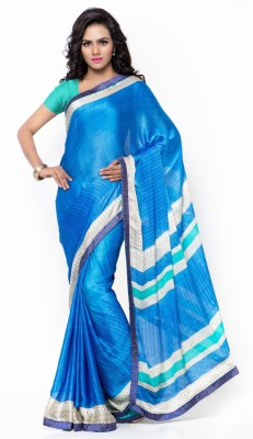 Aagaman Fashion Printed Fashion Chiffon, Satin Saree(Blue) at flipkart