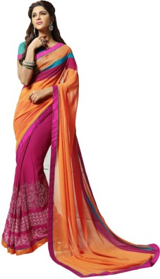 KL COLLECTION Embriodered Fashion Synthetic Fabric Sari