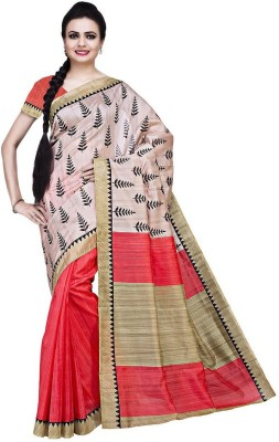The Designer House Self Design, Printed Bhagalpuri Cotton, Silk Sari