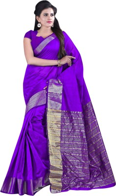 Kvsfab Solid Fashion Cotton Saree(Purple) at flipkart