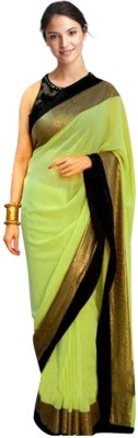Mysticbeauty Plain Bollywood Chiffon Sari