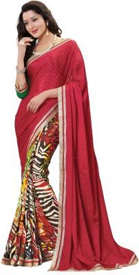 Parisha Self Design, Printed Fashion Jacquard Sari(Red, Multicolor) at flipkart