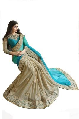 AahnaFashion Embriodered Fashion Georgette Sari
