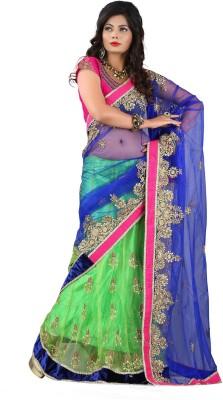 Colourtrendz Self Design Fashion Net Sari