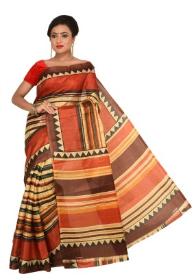 Keya Sarees Printed Ikkat Art Silk Sari(Brown)