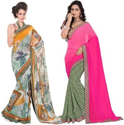 Bapa Sitaram Prints Floral Print Daily Wear Georgette Sari