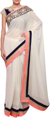 manjula feb Plain Fashion Georgette Sari