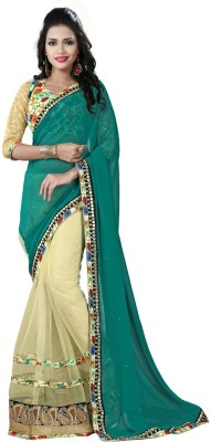 Navya Fashion Solid, Embellished, Self Design Fashion Georgette, Net Sari
