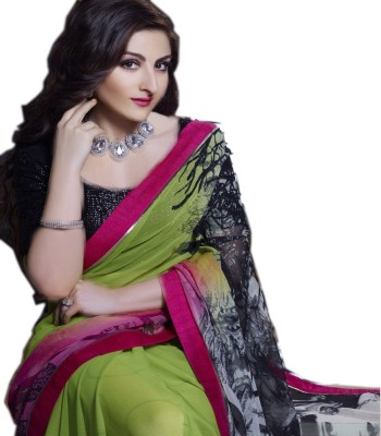 Indus Trends Applique Lehenga Saree Net, Crepe Sari