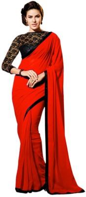 Harsiddh Fashion Solid Bollywood Handloom Georgette Sari