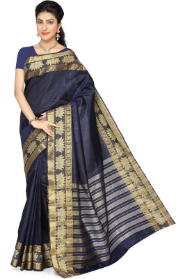 Rani Saahiba Woven Fashion Tussar Silk Sari(Dark Blue)
