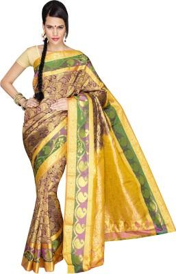 Anju Sarees Self Design Dharmavaram Handloom Pure Silk Sari