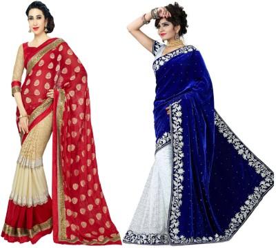 leepsprints Embriodered Bollywood Velvet, Georgette Sari
