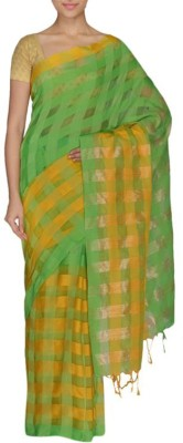 FaabIndia Striped Fashion Handloom Art Silk Sari