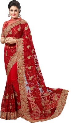 M.S.Retail Embroidered Bollywood Net Saree(Red) at flipkart