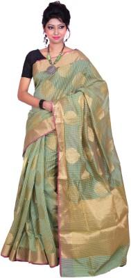 Banarasi Silk Works Embriodered Banarasi Silk Cotton Blend Sari