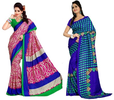 Kunal Printed, Striped Fashion Art Silk Sari