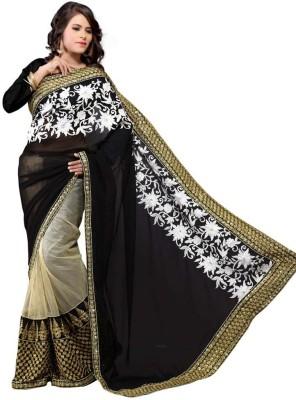 Multiretail Embriodered Daily Wear Georgette Sari