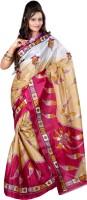Kajal Sarees Printed Bollywood Art Silk Saree(Pink, Beige)