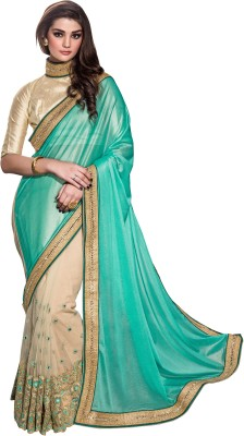 Crafts N Culture Embriodered, Woven Fashion Net Sari