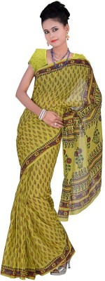 Indiangiftemporium Floral Print Daily Wear Handloom Cotton Sari
