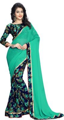 Oomph! Floral Print Fashion Chiffon Saree(Blue) at flipkart