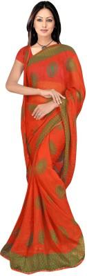 RAJASTHANI BANDEJ Printed Daily Wear Synthetic Chiffon Sari