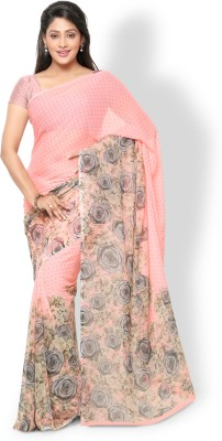 Vaamsi Printed Daily Wear Chiffon Saree(Pink) at flipkart