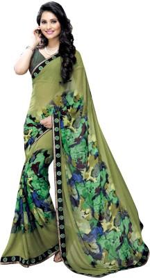 Oomph! Printed Fashion Georgette Sari(Green) at flipkart