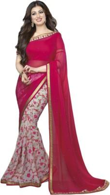 TriveniCreation Floral Print Bollywood Georgette Sari