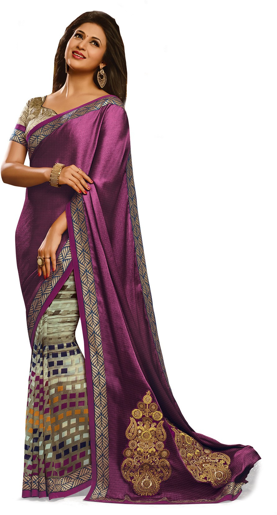 Indianbeauty Self Design, Printed, Embroidered Bollywood Satin, Chiffon Saree(Blue, Grey)