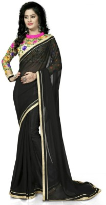 Amayra Fashions Solid, Embellished, Self Design Fashion Chiffon Sari
