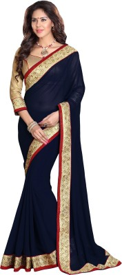 Sourbh Sarees Solid Bollywood Georgette Saree(Dark Blue) at flipkart