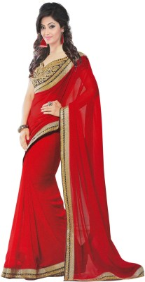Manvar Enterprise Embriodered, Solid Bollywood Handloom Chiffon Sari