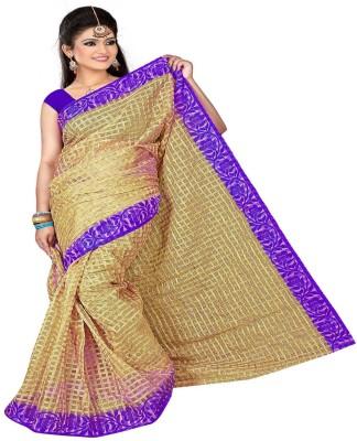 Dhanu Fashion Checkered Banarasi Tissue Sari