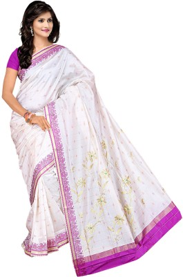 Moon Sarees Embriodered Tanchoi Handloom Silk Sari