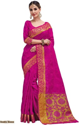 Taanshi Self Design Kanjivaram Tussar Silk Saree(Pink) at flipkart