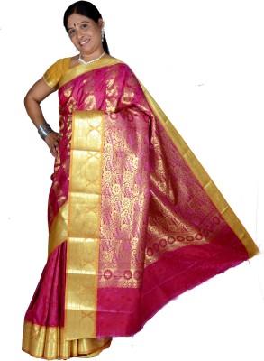 Belgaum Poly Sarees Self Design Banarasi Polyester Sari
