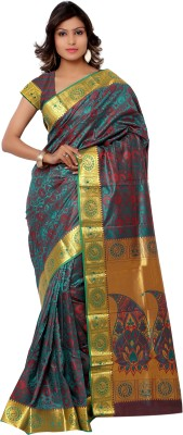 Varkala Silk Sarees Paisley Kanjivaram Handloom Art Silk Sari