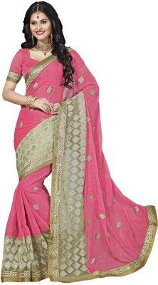 M.S.Retail Embroidered Bollywood Silk, Net Saree(Pink) at flipkart
