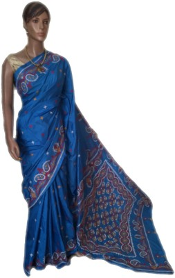 VanshikasCollections Embriodered Katha Art Silk Sari