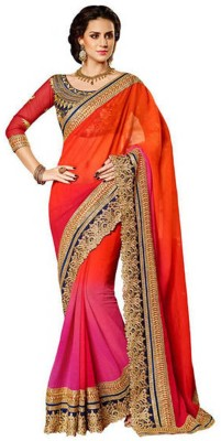 Highchoice Creation Embriodered, Solid Bollywood Net Sari