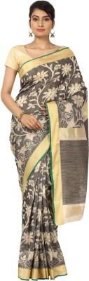 Seven Square Floral Print Banarasi Net Sari