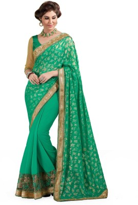 Rajshrifashions Embriodered Lugade Chiffon Sari