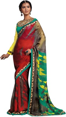 Indianbeauty Printed, Embriodered Bollywood Pure Georgette Sari