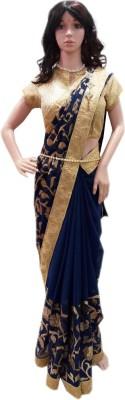 HAPPYSHOPP Embriodered Fashion Georgette Sari