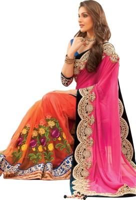 AahnaFashion Embriodered Bollywood Satin, Net Sari