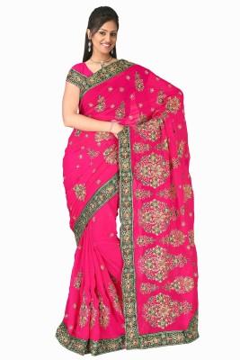 Suchi Fashion Embriodered, Embellished Fashion Georgette Sari