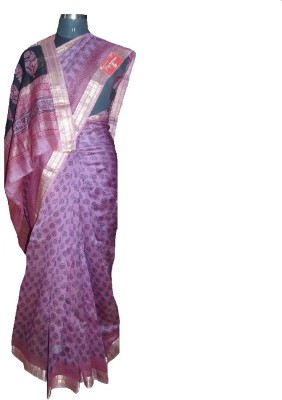malvika exclusive Printed Chanderi Handloom Silk Cotton Blend Sari